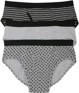 Patterned and plain cotton briefs three pack