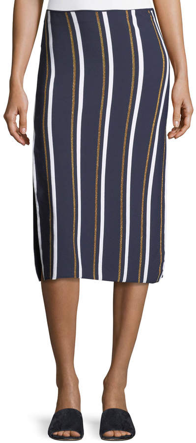 Cédric Charlier Metallic Stripe Knit Midi Skirt