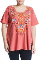 Johnny Was Anaya Short-Sleeve Embroidered Top, Coral, Plus Size