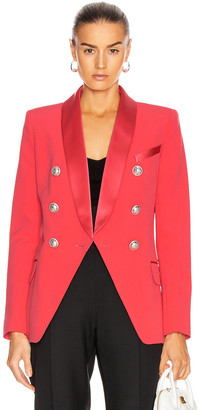 Balmain Oversized Satin Lapel Blazer Jacket in Dark Rose | FWRD