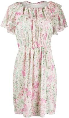 Giambattista Valli Floral Print Ruffled Dress