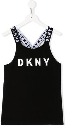 DKNY TEEN logo print tank top
