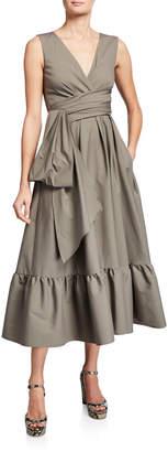 Talbot Runhof Wrapped Poplin Flounce Dress