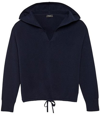 Theory Relaxed V-Neck Cashmere Hoodie