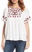 Lucky Brand Hannah Embroidered Peasant Blouse