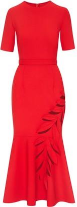 Oscar de la Renta Cut-Out Flared Midi Dress