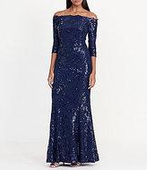 Lauren Ralph Lauren Sequin Off-the-Shoulder Floral Lace Gown