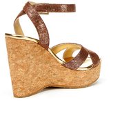 Jimmy Choo Papyrus Crackled Patent Leather Platform Wedge Sandal