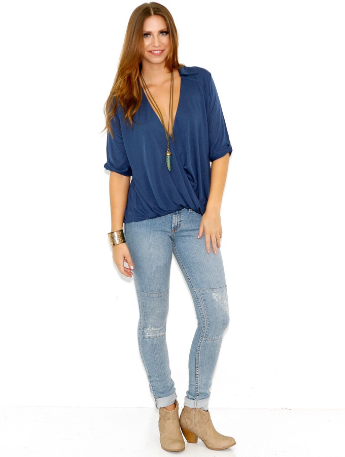 Blue Life Collared Hayley Top In Cadette Blue