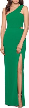 Xscape Evenings One-Shoulder Scuba Crepe Column Gown