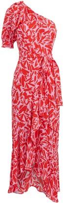 Veronica Beard Vie One-Shoulder Floral Midi Dress