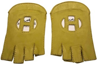 Hermes Yellow Leather Gloves