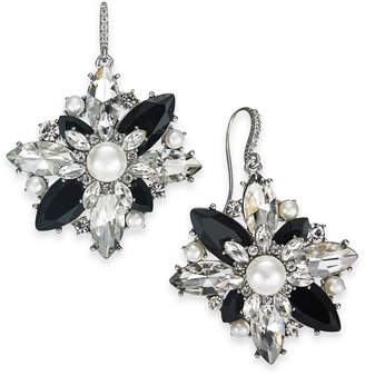 Charter Club Silver-Tone Crystal, Stone & Imitation Pearl Cluster Drop Earrings