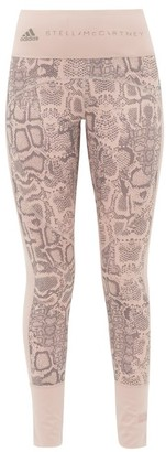 adidas by Stella McCartney Snake-print High-rise Training Leggings - Womens - Pink Print