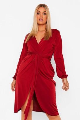 boohoo Plus Disco Slinky Belted Wrap Midi Dress