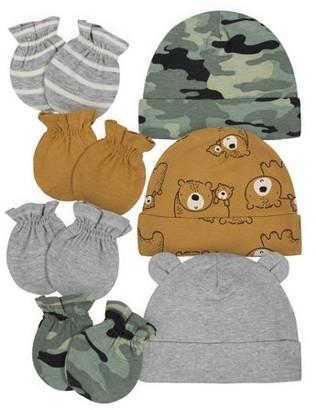 Gerber Baby Boy Organic Caps and Mittens Bundle, 7-Piece Set