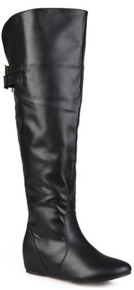 Brinley Co. Women's Wide Calf Buckle Detail Faux Leather Boots