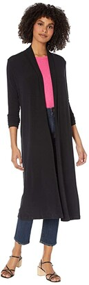 Michael Stars Candice Tahoe Jersey Shawl Neck Long Cardigan (Black) Women's Clothing