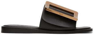 Boyy Black Buckle Flat Sandals