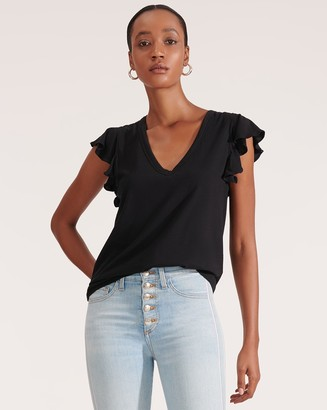Veronica Beard Mesa Ruffled-Sleeve Tee