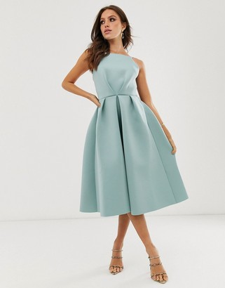 Asos Design DESIGN bow back midi prom dress-Blue