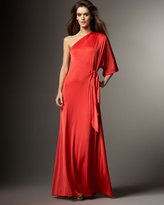 Halston Heritage Knotted-Waist Gown