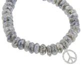 Sydney Evan Diamond Peace Sign on Diamond Labradorite - White Gold