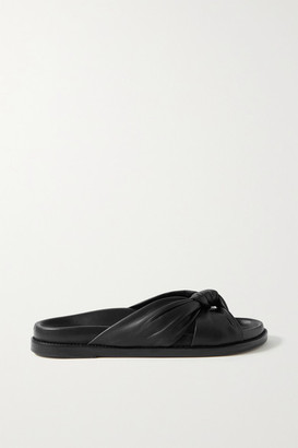 PORTE & PAIRE Knotted Leather Slides - Black