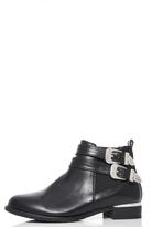 Quiz Black Double Buckle Ankle Boots