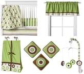 Bacati Modern Dots/Stripes Green/Chocolate 10 Piece Crib Set without Bumper Pad