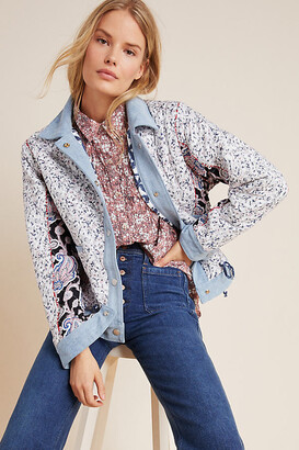 Blank NYC Denim-Trimmed Reversible Patchwork Jacket By in Blue Size XS
