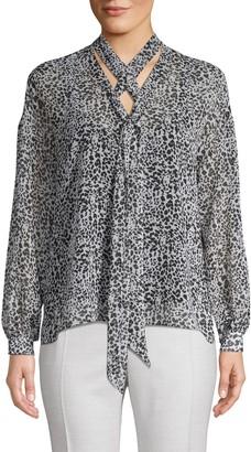 Bailey 44 Leopard-Print Long-Sleeve Blouse