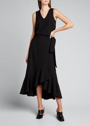 Ganni Midi Crepe Side-Tie Frill Skirt