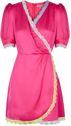 Olivia Rubin Lena Fuchsia Wrap-effect Satin Mini Dress