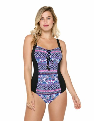 Christina Women's Lace Up D-Cup Tank One Piece Swimsuit