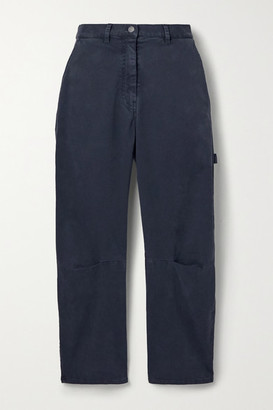 Nili Lotan Carpenter Cotton-blend Twill Tapered Pants - Navy