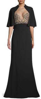 Reem Acra Beaded Silk Crepe Gown