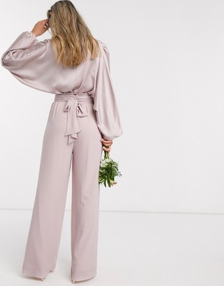 TFNC bridesmaids wide leg pant with ruffle waist detail and belt in pink