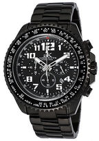 Adee Kaye AK9004 Men's Aviation Chrono Black IP Stainless Steel and Dial