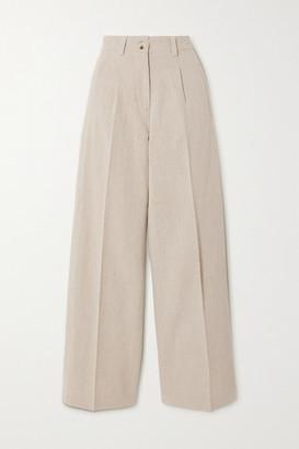 HOLZWEILER Bolette Pleated Cotton And Linen-blend Straight-leg Pants - Beige