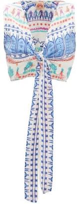 Le Sirenuse Le Sirenuse, Positano - Sonia Capri Proscenium-print Cropped Silk Top - Womens - White Print