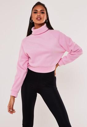 Missguided Pink Fleece Roll Neck Cropped Sweatshirt