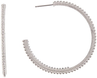 Judith Ripka Silver Beaded Texture Hoop Earrings