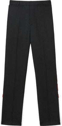 Burberry Logo Print Two-tone Wool Mohair Trousers