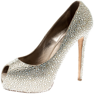 Le Silla Metallic Gold Crystal Embellished Leather Peep Toe Platform Pumps Size 39
