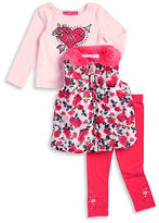 Betsey Johnson Girls 2-6x Faux Fur Trimmed Vest, Tee and Leggings Set