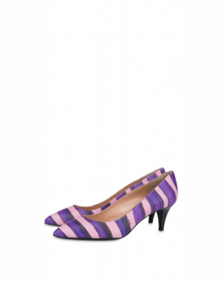 Moschino Stripes Calfskin Pumps Woman Purple Size 36 It - (6 Us)