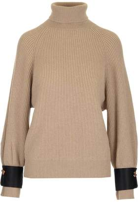 Brunello Cucinelli Beaded Embellished Cuff Ribbed Jumper