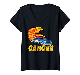 Womens Squarebody With Classic Square Body Truck Burnout Cancer V-Neck T-Shirt