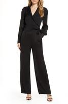 Adelyn Rae Shyla Long Sleeve Textured Satin Jumpsuit